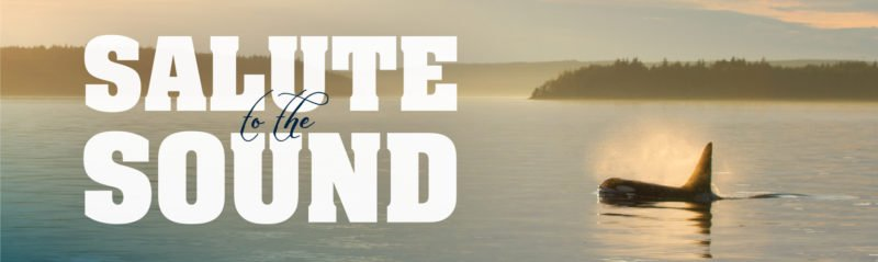 Salute to the Sound text appears in white over a banner image of an orca whale swimming at sunset.